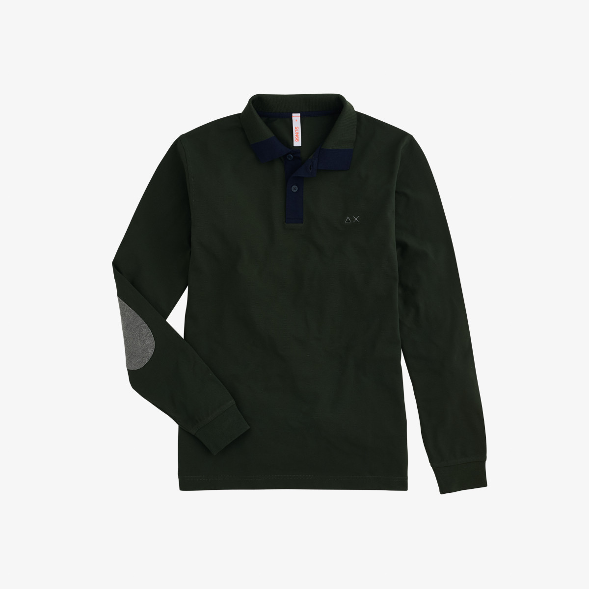 POLO EL. CONTRAST ELBOW L/S DARK MILITARY