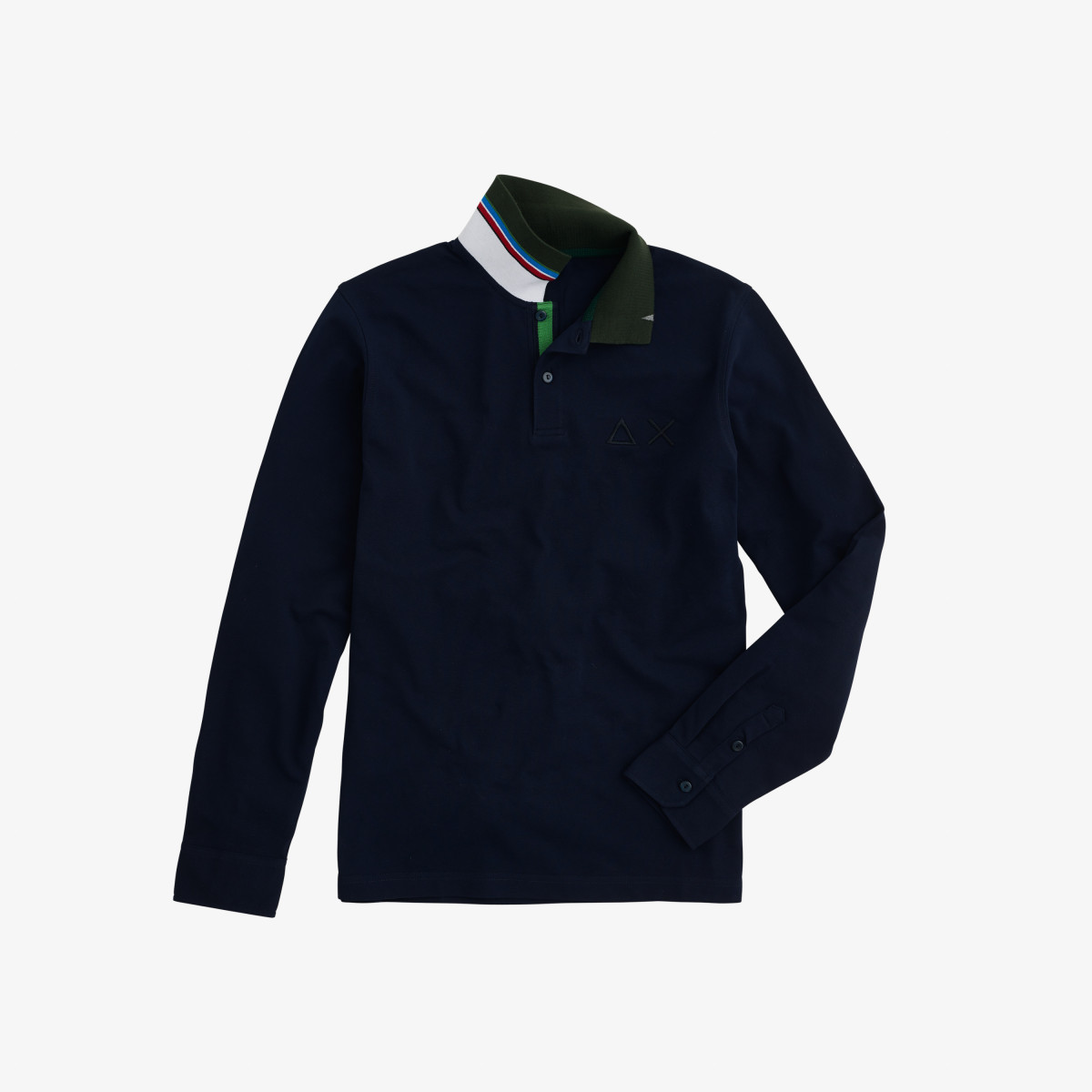 POLO EL. UNDER COLLAR STRIPE L/S NAVY BLUE