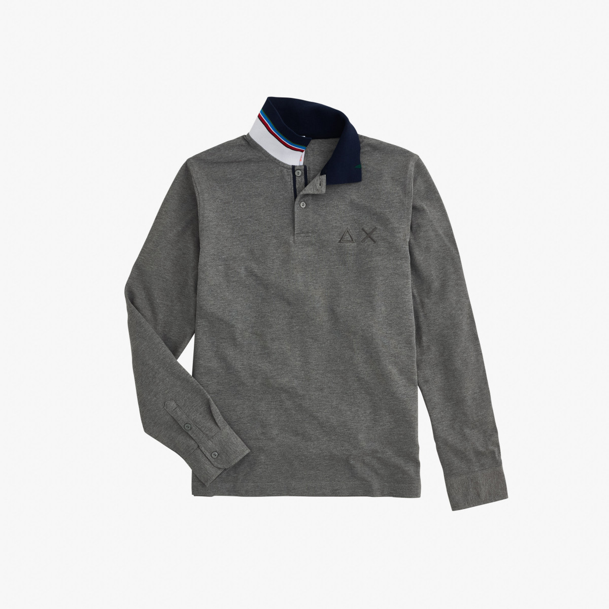 POLO EL. UNDER COLLAR STRIPE L/S MEDIUM GREY