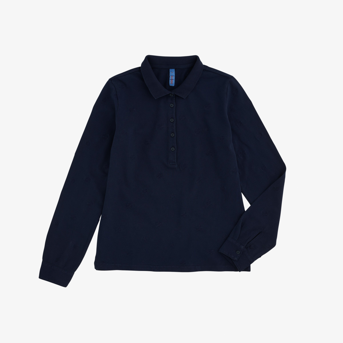 POLO EL. FULL EMB.COLD DYE L/S NAVY BLUE
