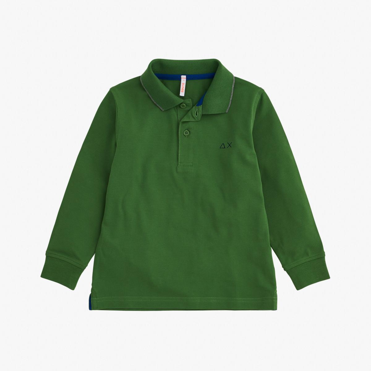 BOY'S POLO SMALL STRIPES L/S BOTTLE GREEN