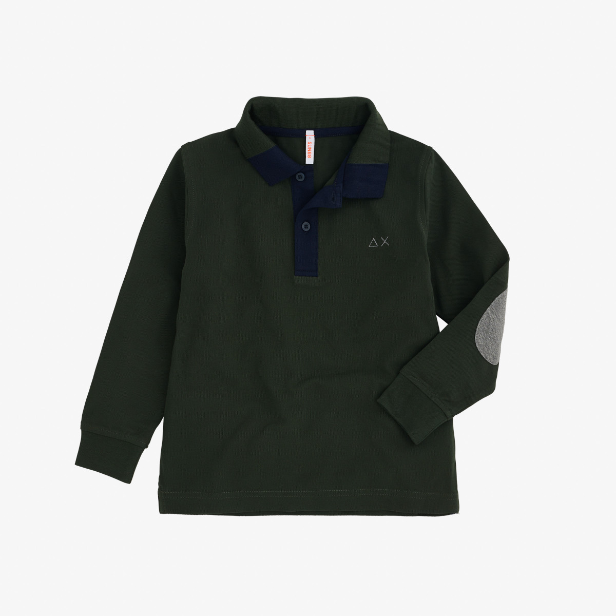 BOY'S POLO 3 CONTRAST ELBOW L/S DARK MILITARY