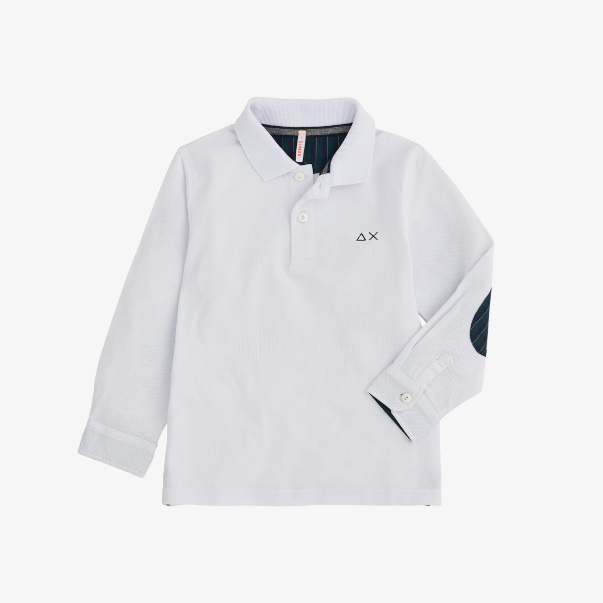 BOY'S POLO SHIRT FABRIC ELBOW L/S BIANCO
