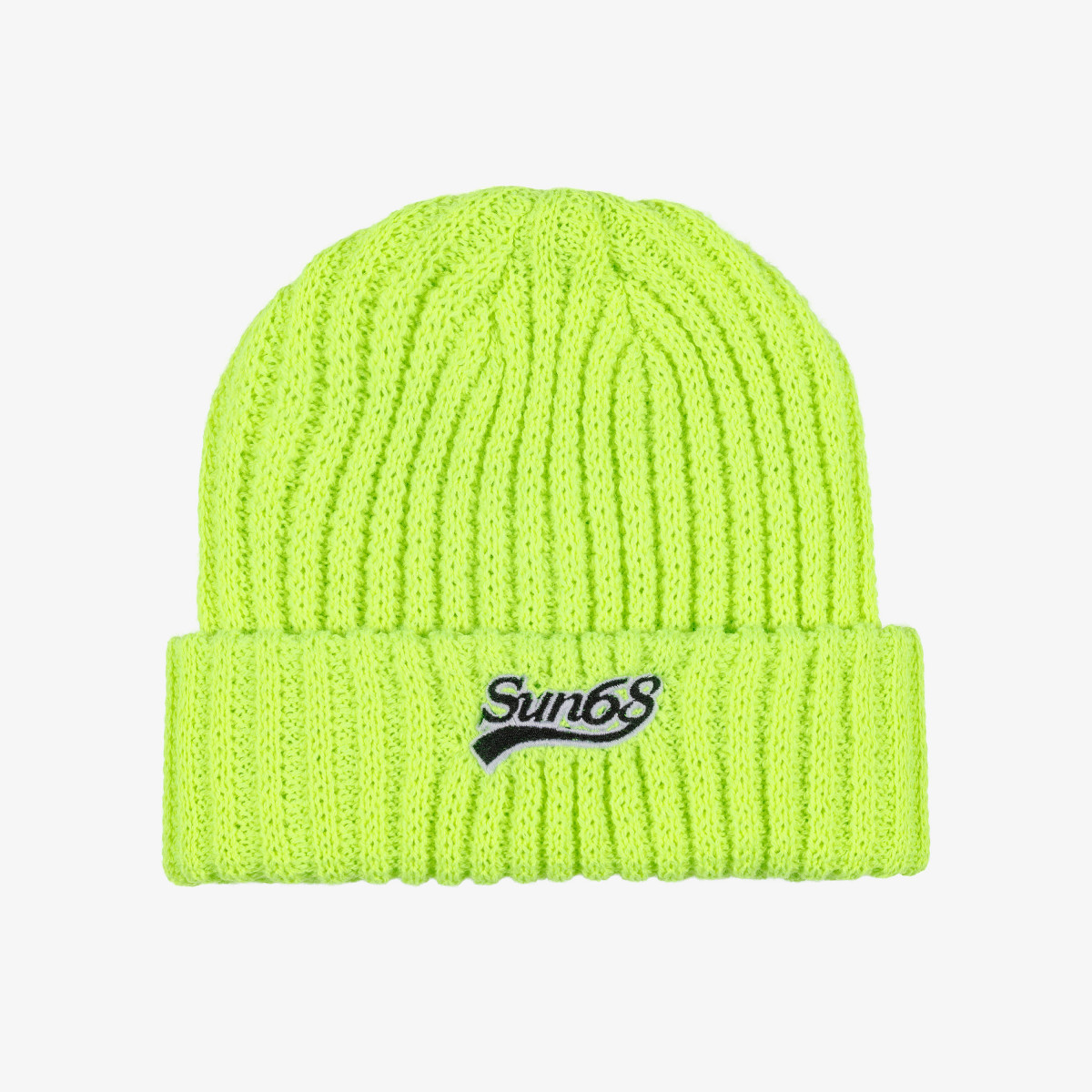 CAP THICK KNIT YELLOW FLUO