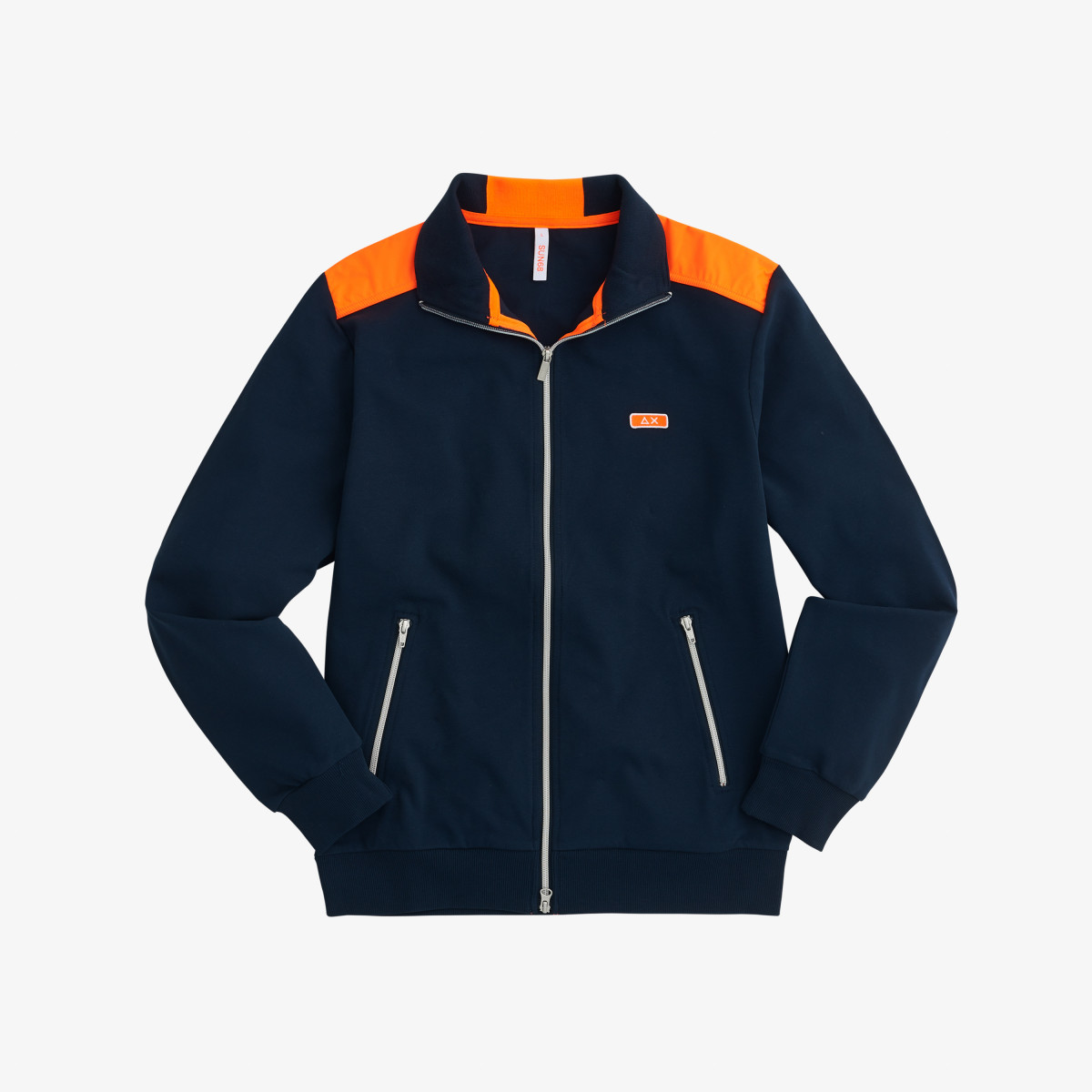 FULL ZIP NYLON FLUO COTT. FL. NAVY BLUE