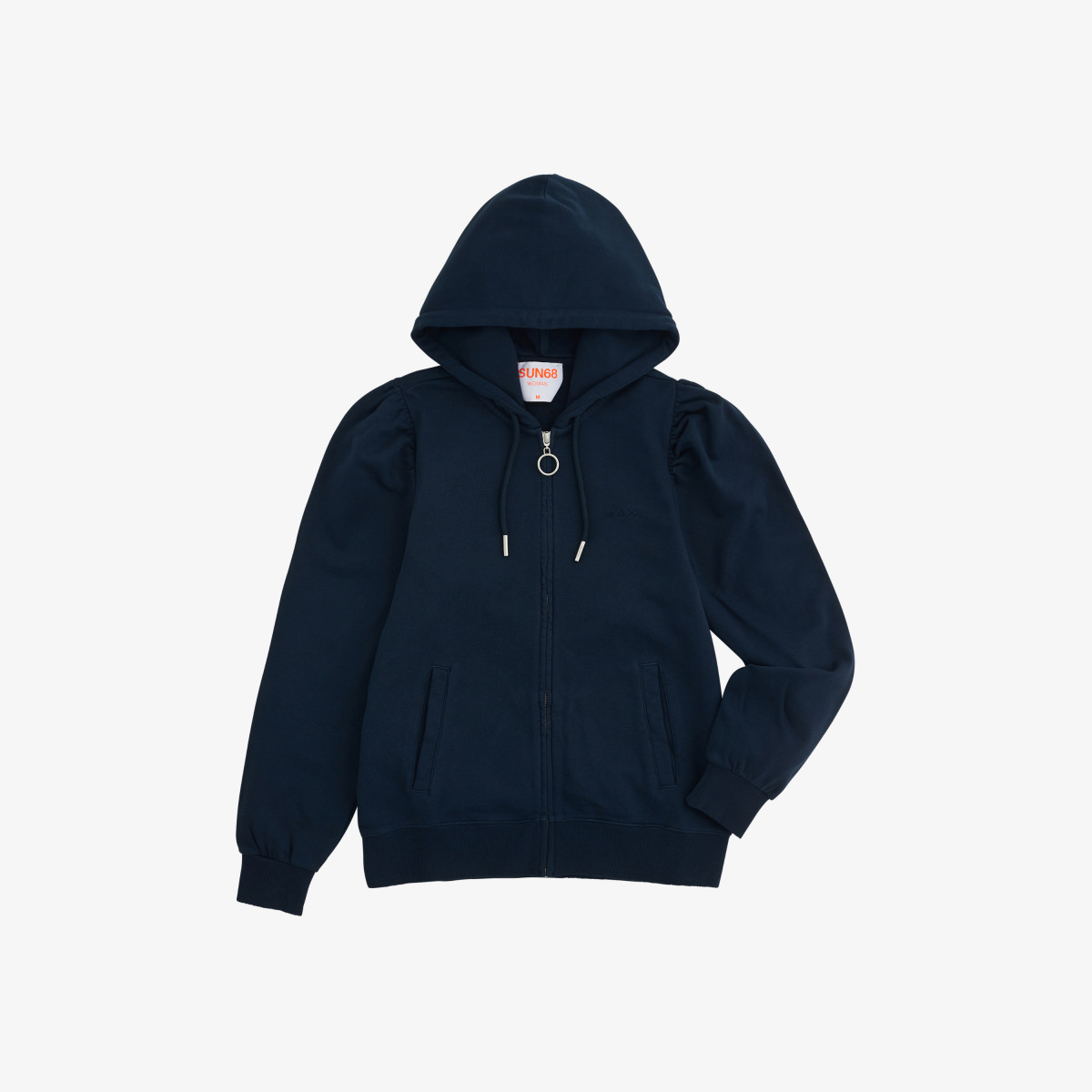 FULL ZIP HOOD COTTON FL. NAVY BLUE