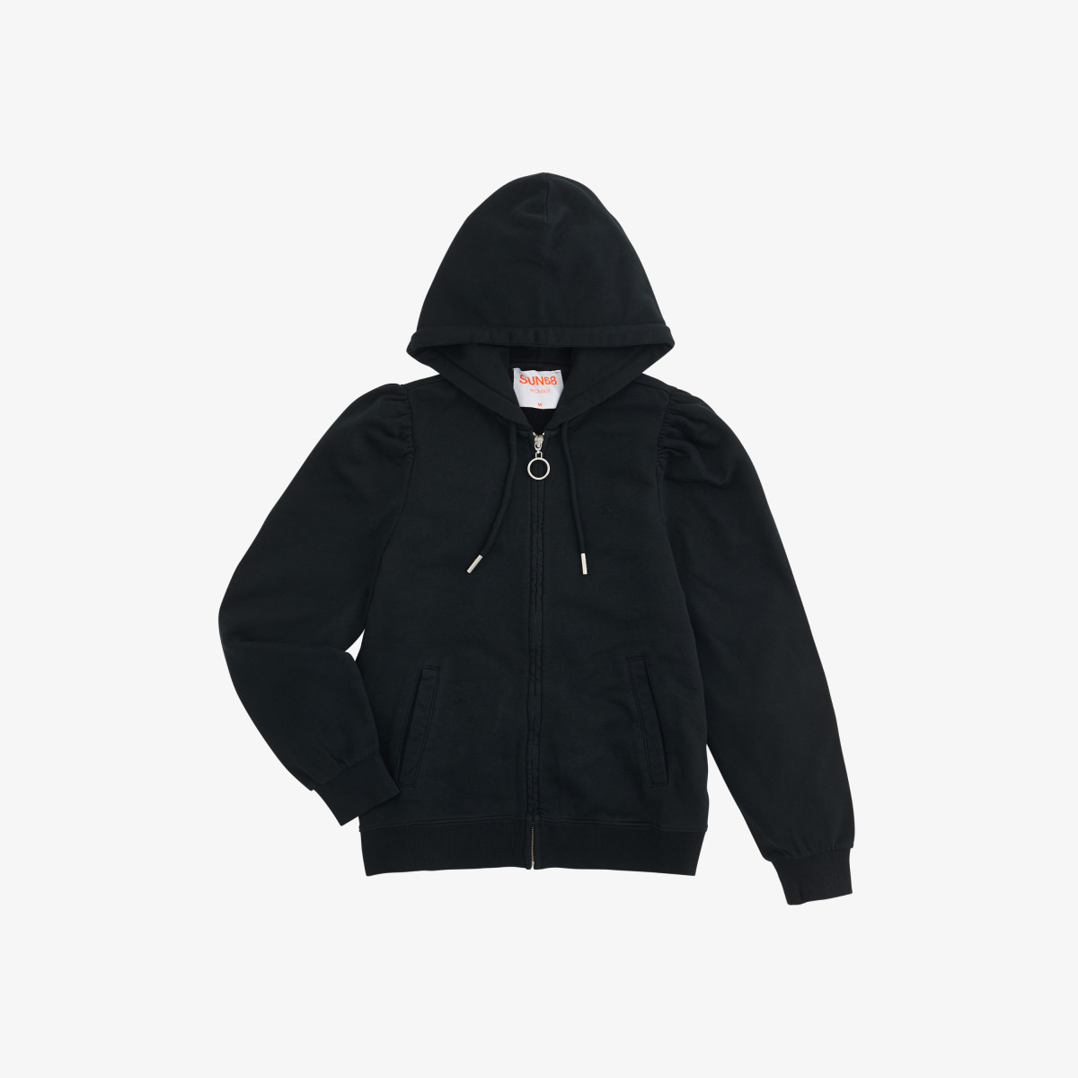 FULL ZIP HOOD COTTON FL. NERO