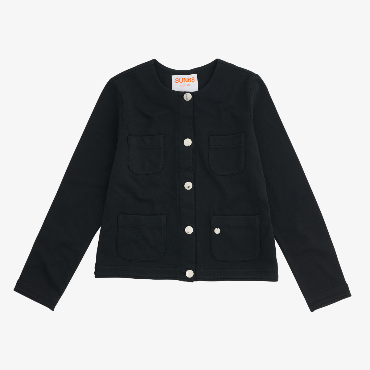 ROUND JACKET COTTON FL. NERO