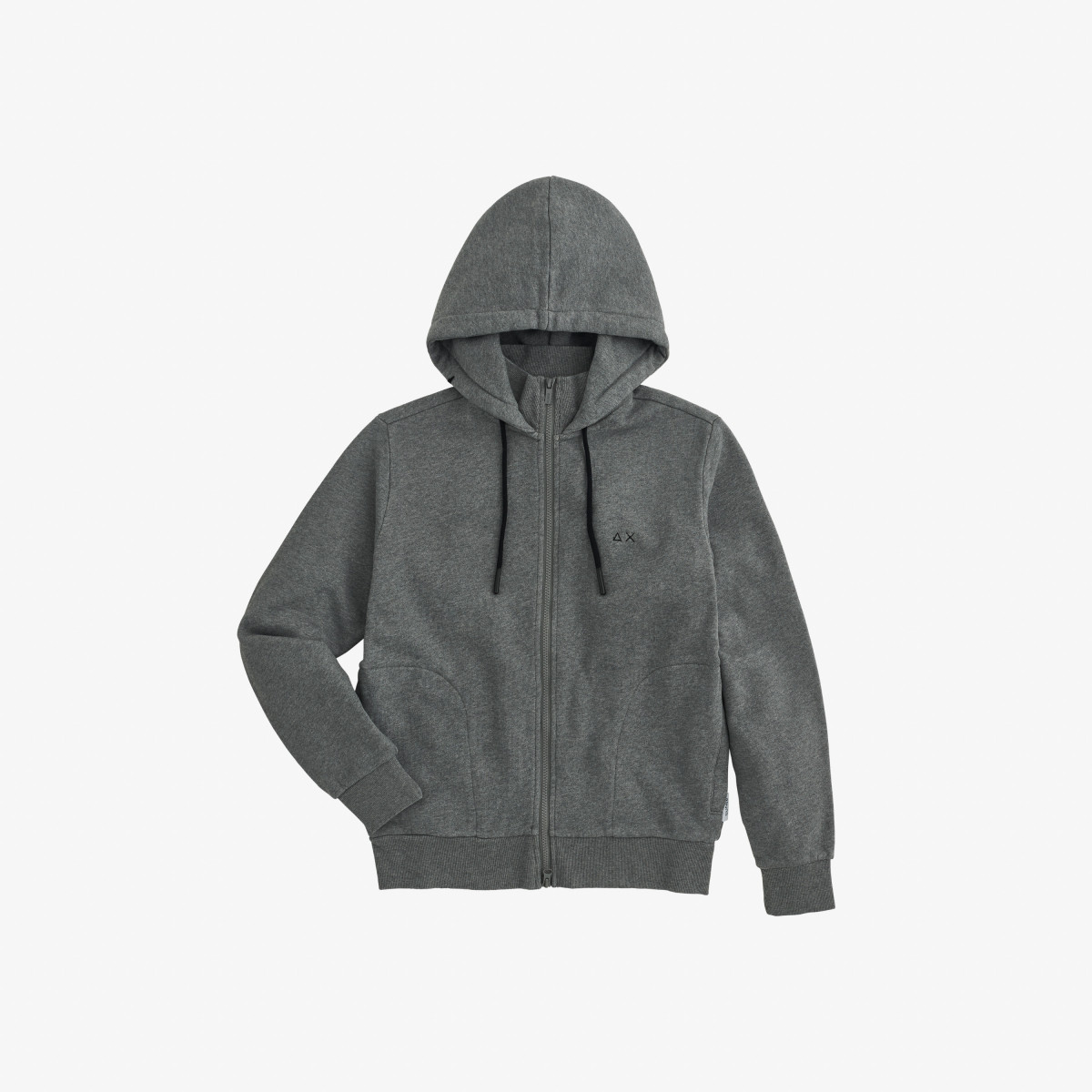 HOOD FULL ZIP COTTON FL GRIGIO MEDIO