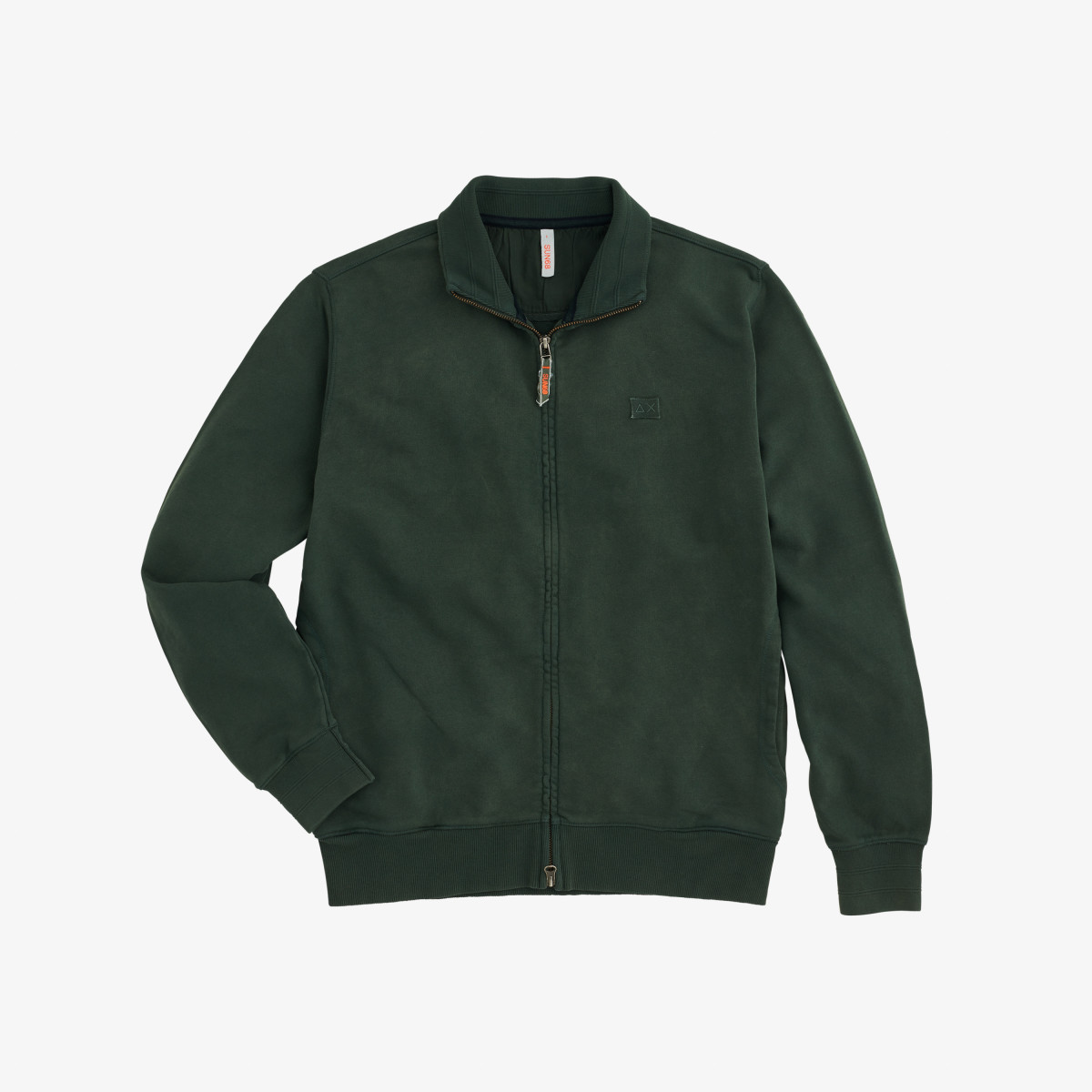 FULL ZIP GARMENT DYE COTTON FL VERDE SCURO