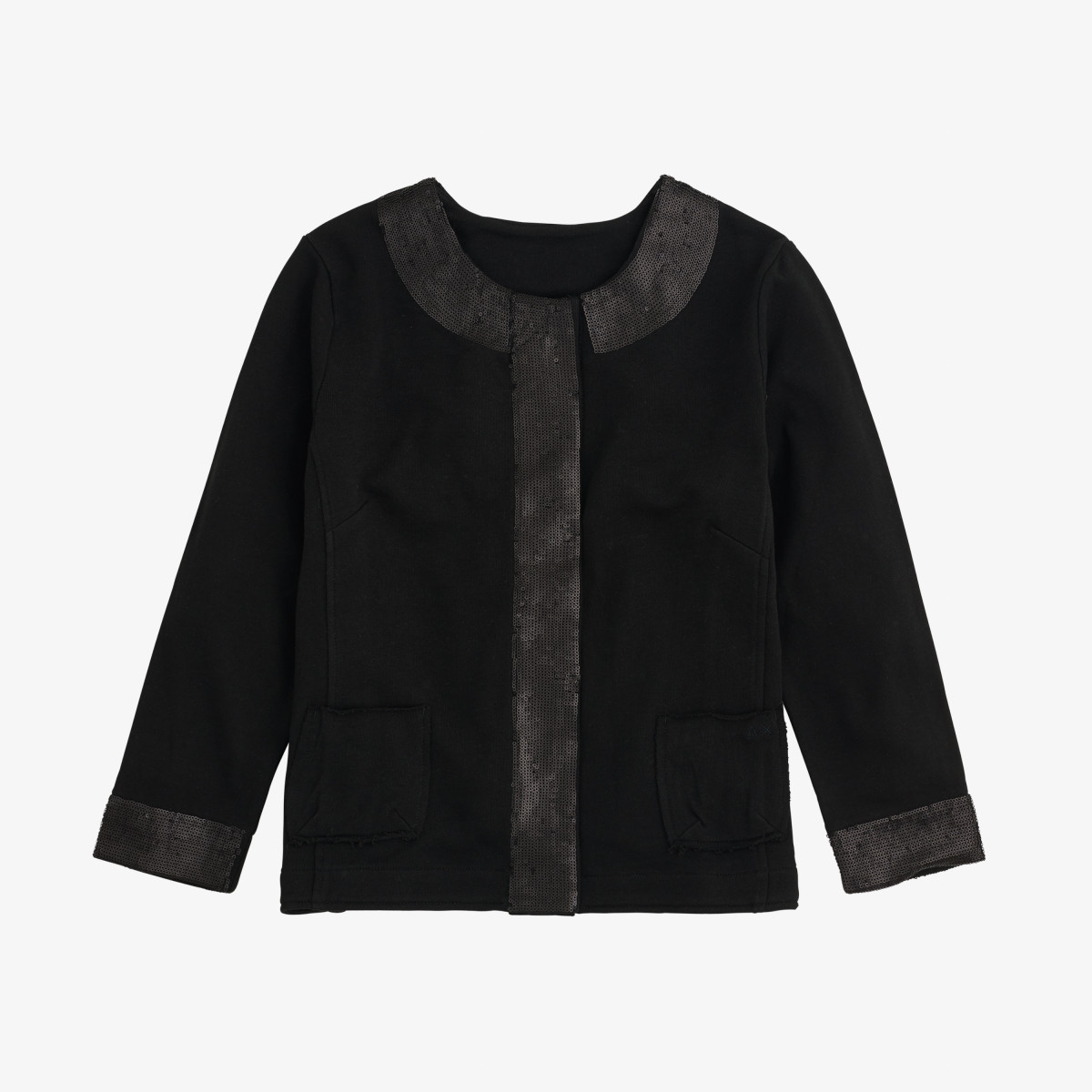 PAILLETTES SHORT JACKET COTTON FL BLACK