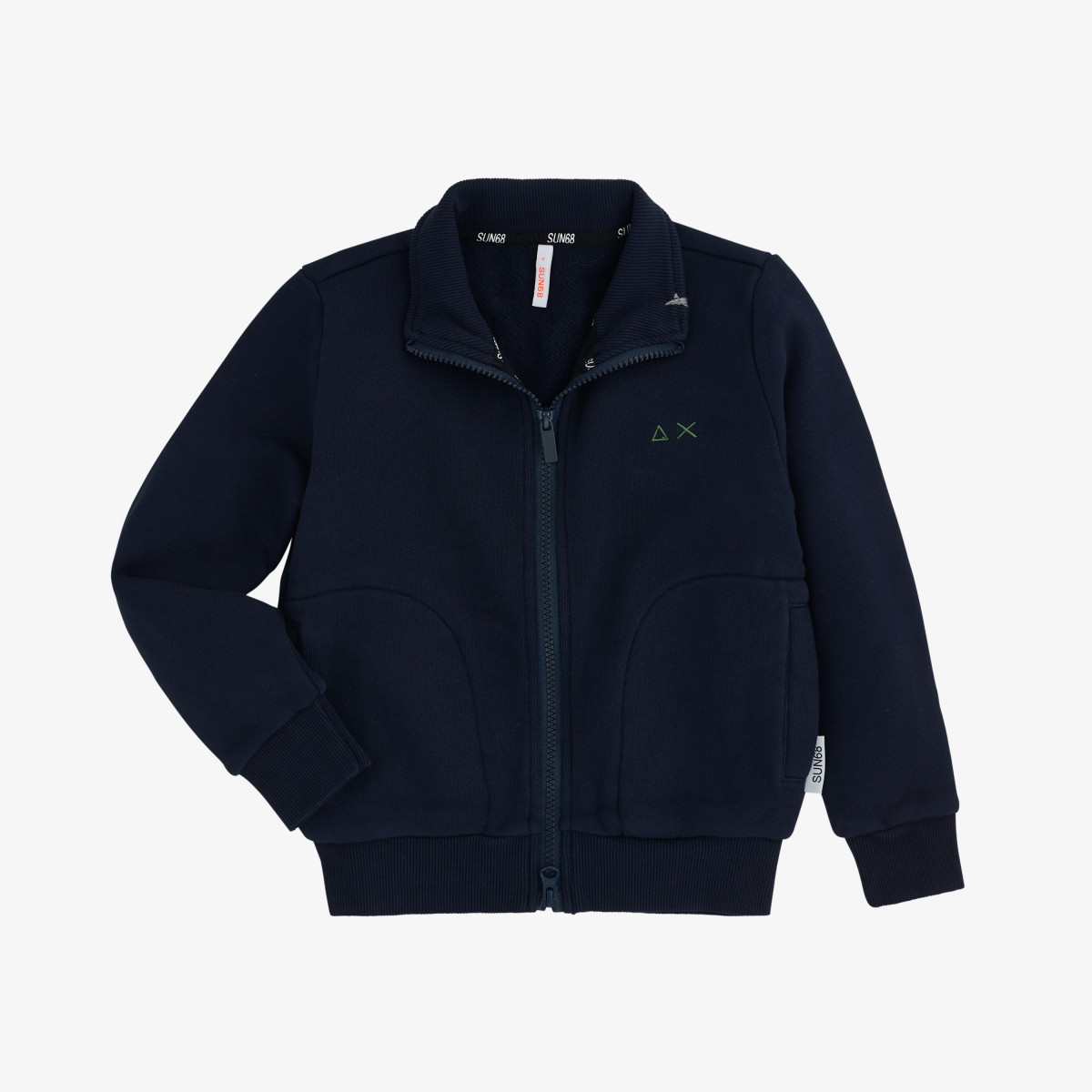 BOY'S FULL ZIP COTTON FL NAVY BLUE