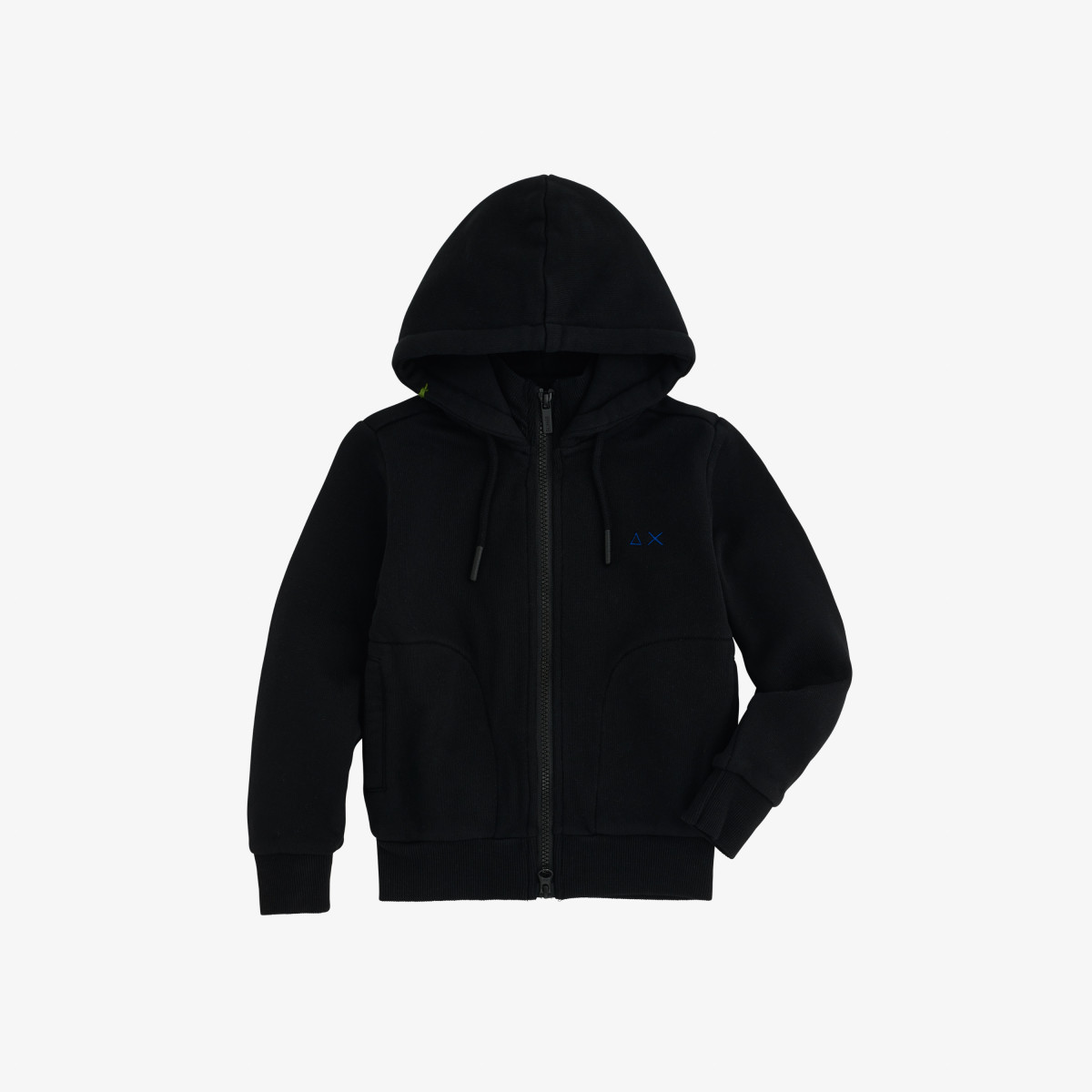 BOY'S HOOD FULL ZIP COTTON FL NERO