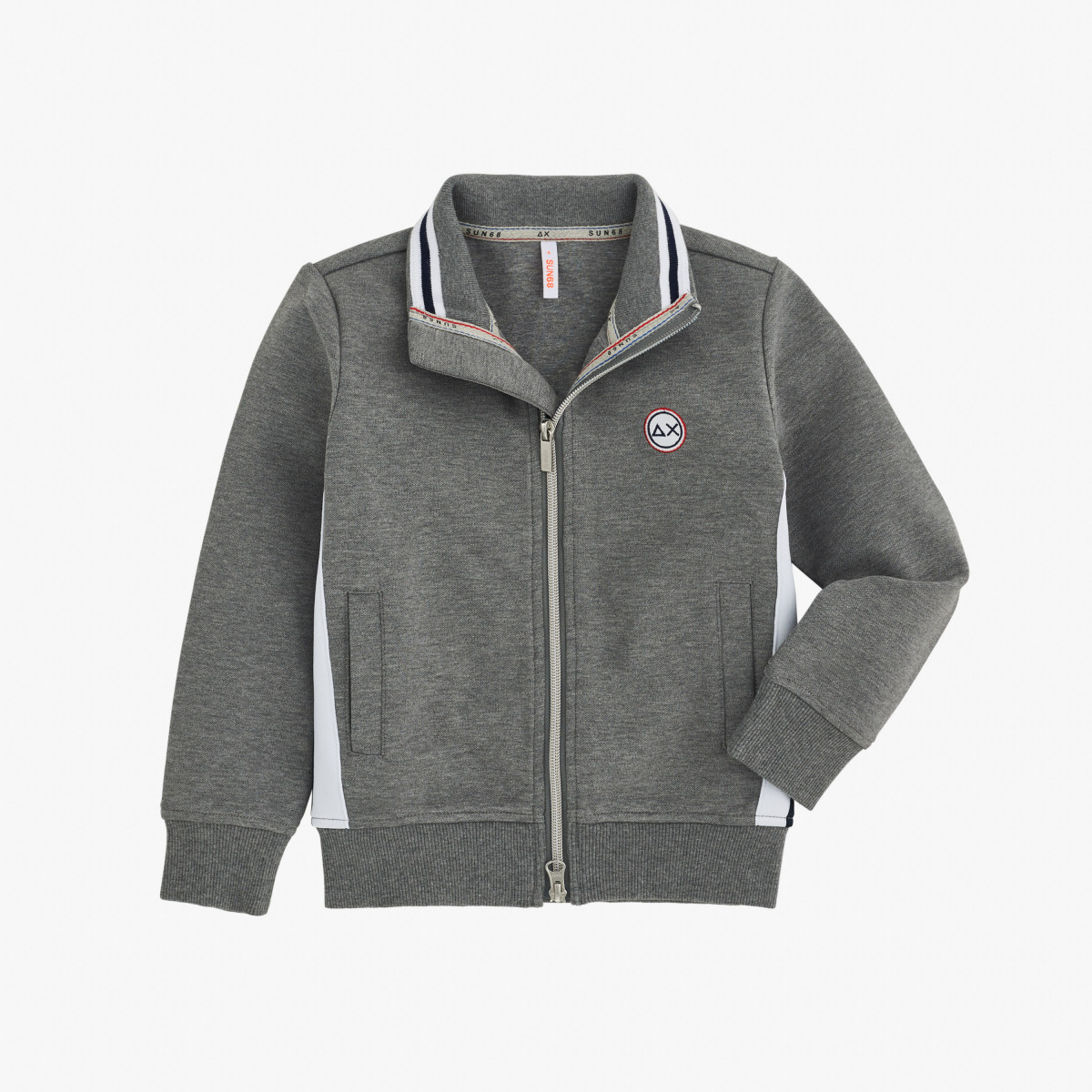 BOY'S FULL ZIP HERITAGE COTTON FL MEDIUM GREY