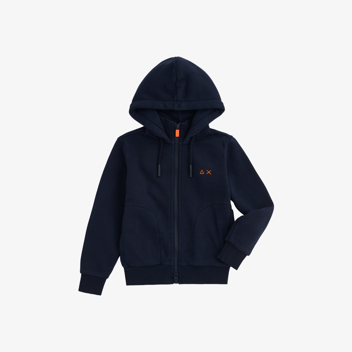 BOY'S HOOD FULL ZIP FLUO COTTON FL NAVY BLUE