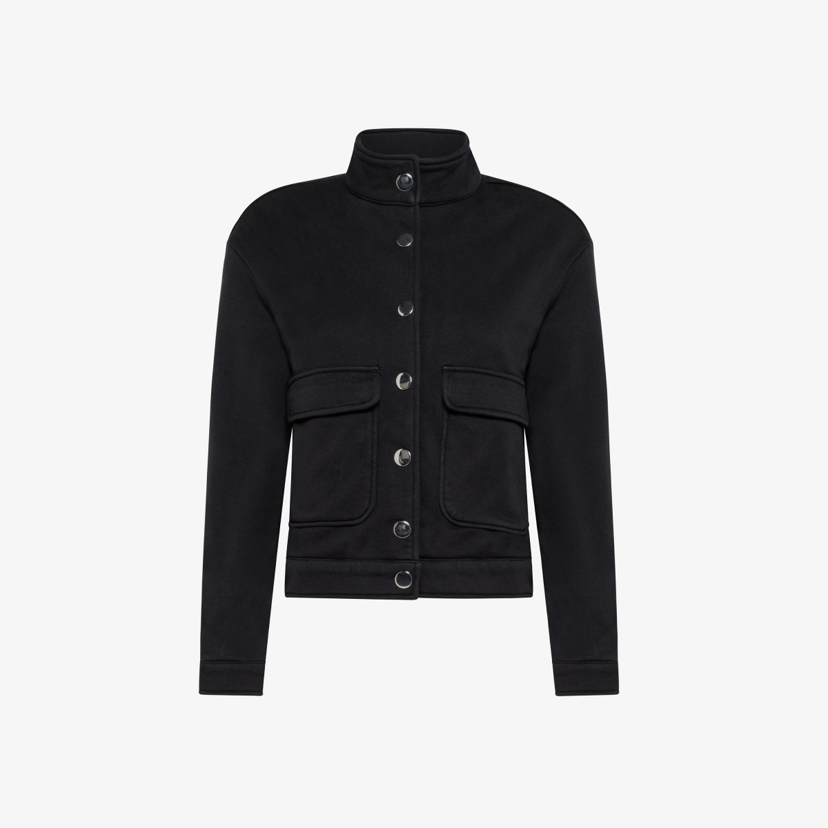 BOMBER WITH POCKETS COTTON FL BLACK