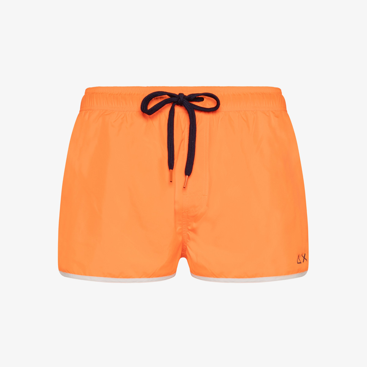 SWIM PANT SOLID BINDING SMALL LOGO ORANGE FLUO