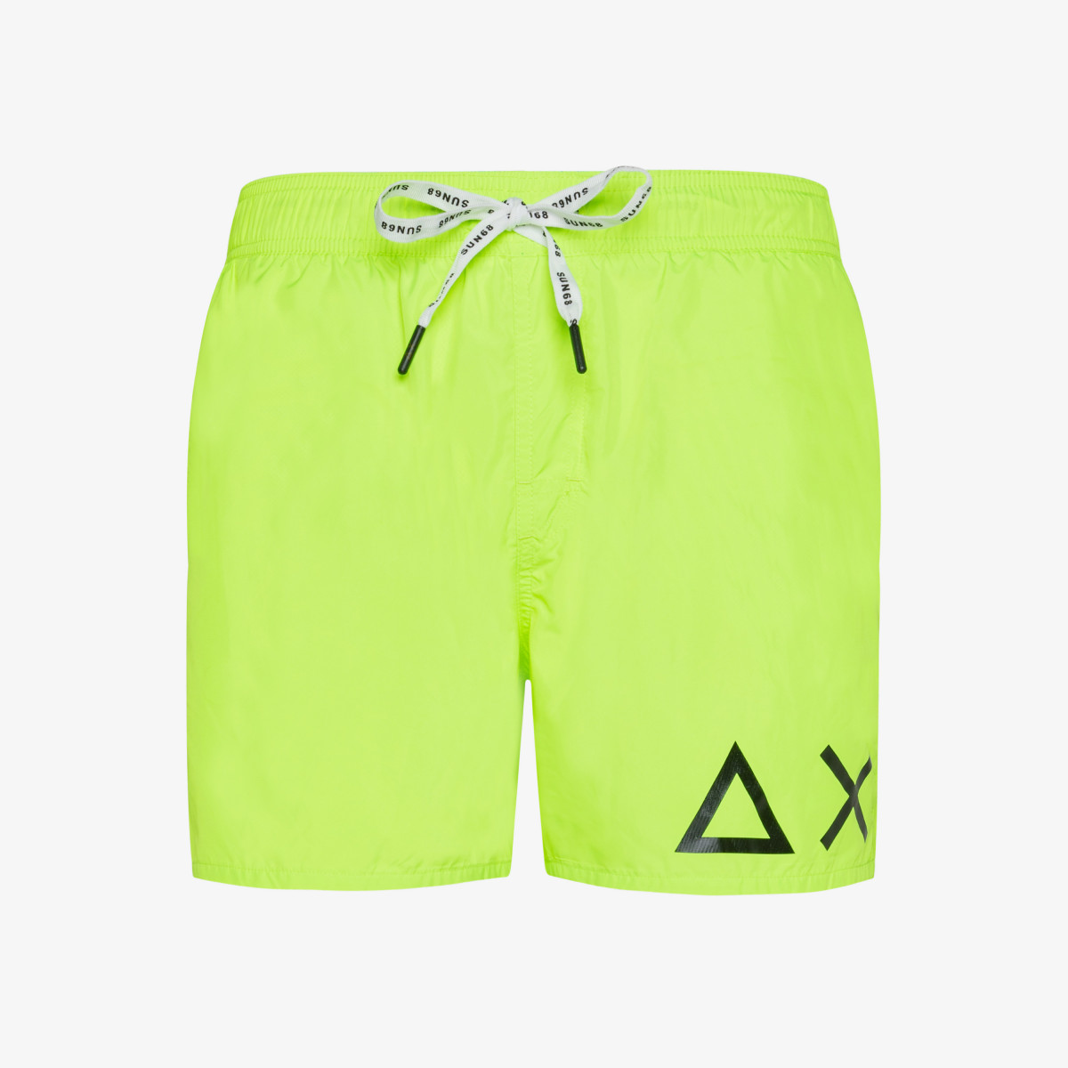SWIM PANT SOLID BIG LOGO GIALLO FLUO