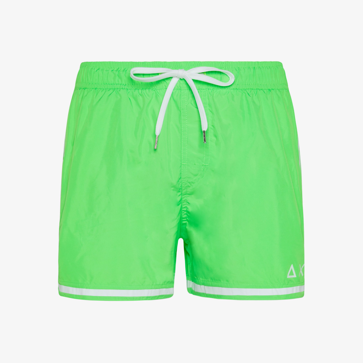 SWIM PANT SIDE BAND WHITE GREEN FLUO
