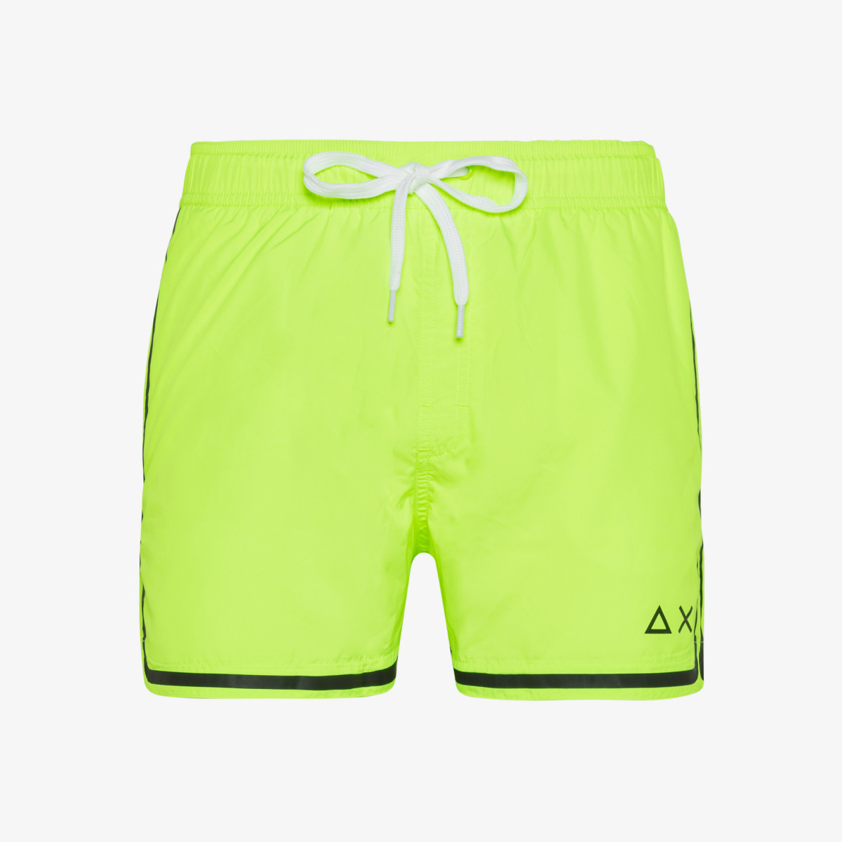 SWIM PANT SIDE BAND WHITE YELLOW FLUO