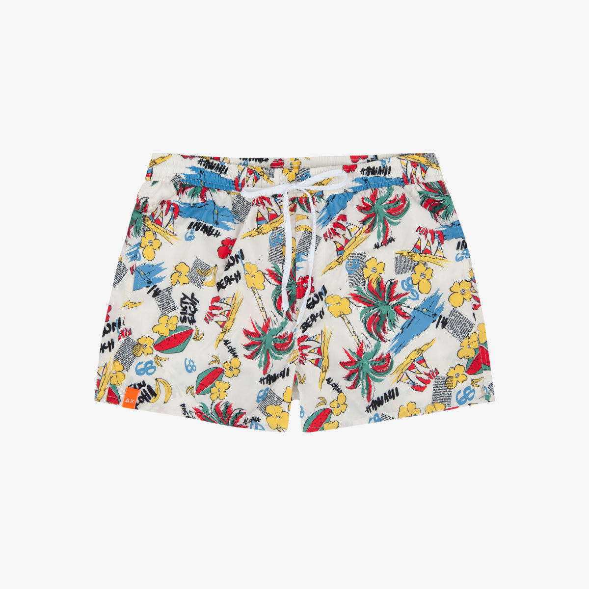 SWIM PANT HAWAII WORDS OVERALL PRINT WHITE
