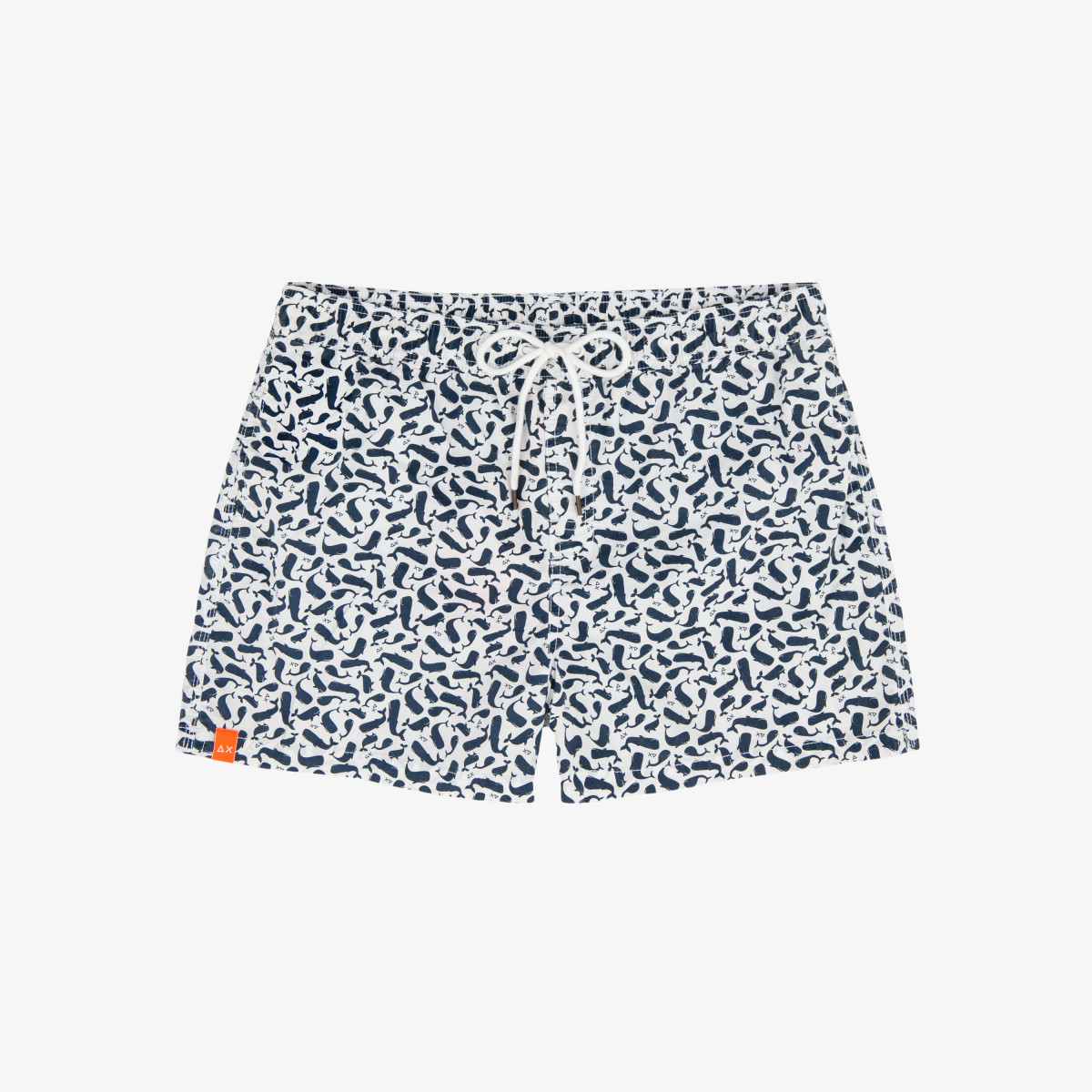 SWIM PANT MICRO PRINT BIANCO/NAVY BLUE