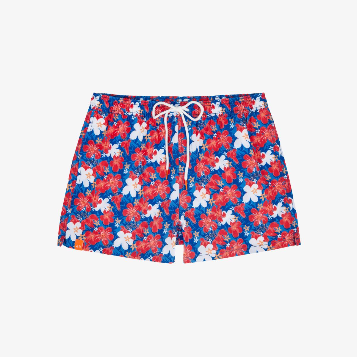 SWIM PANT HAWAII & FLOWERS BLUE/RED
