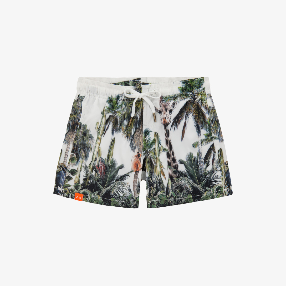 BOY'S SWIM PANT ANIMAL BIANCO PANNA