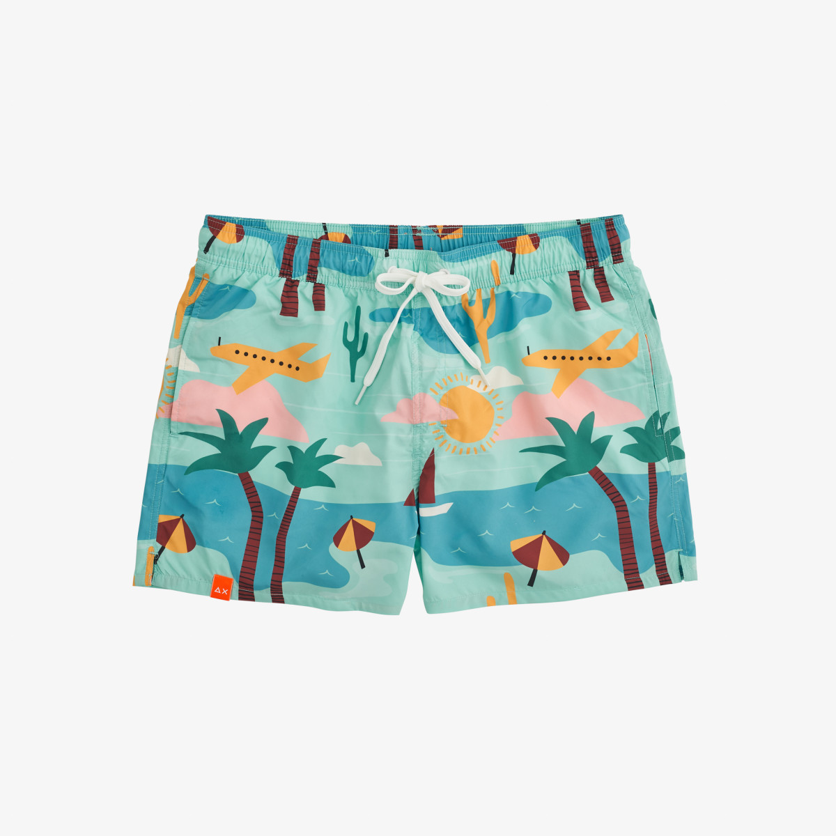SWIM PANT ILLUSTRATION MENTA/GIALLO