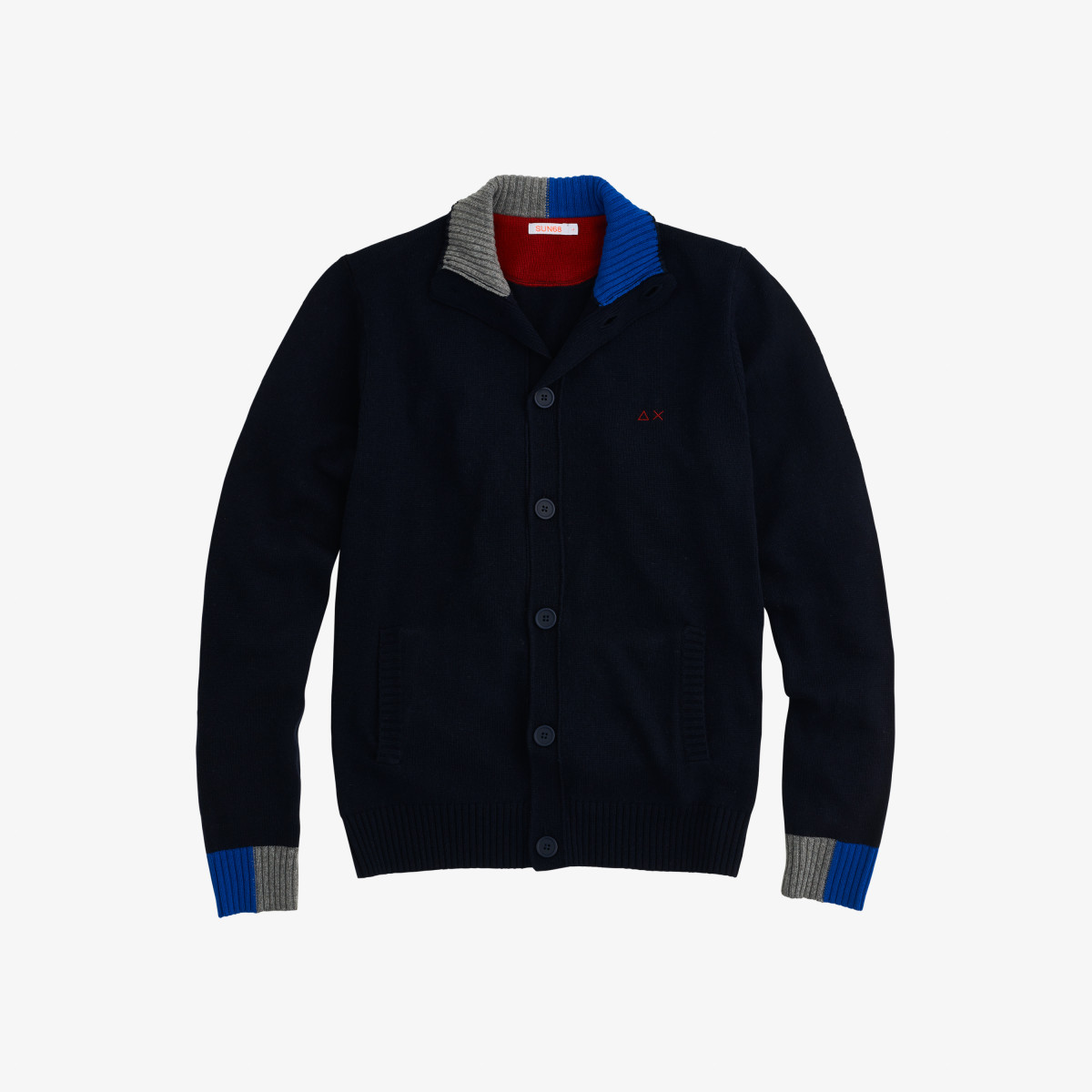 CARDIGAN BUTTONS COLOR RIB NAVY BLUE