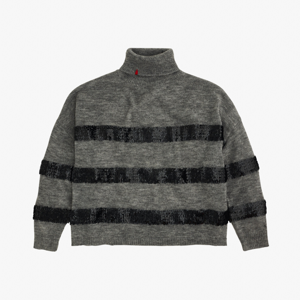 WOOL TURTLE PAILLETTES L/S GRIGIO MEDIO