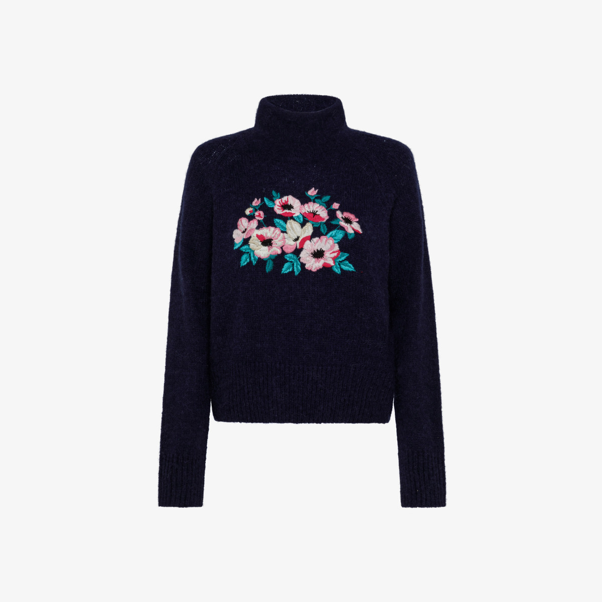 HIGH NECK EMBRODERY L/S NAVY BLUE