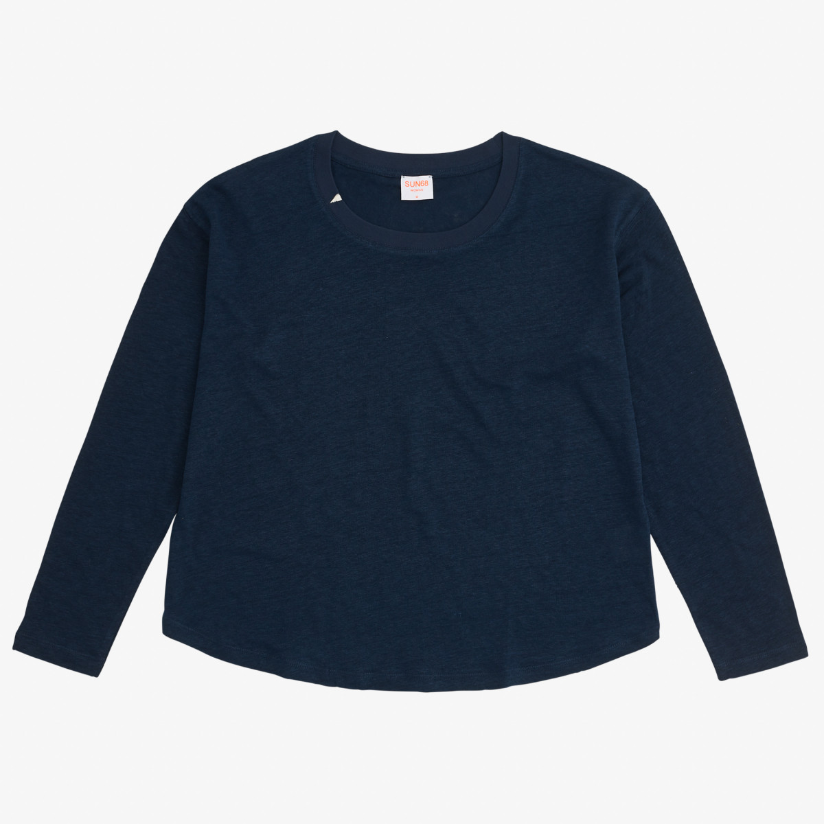T-SHIRT LINEN L/S NAVY BLUE