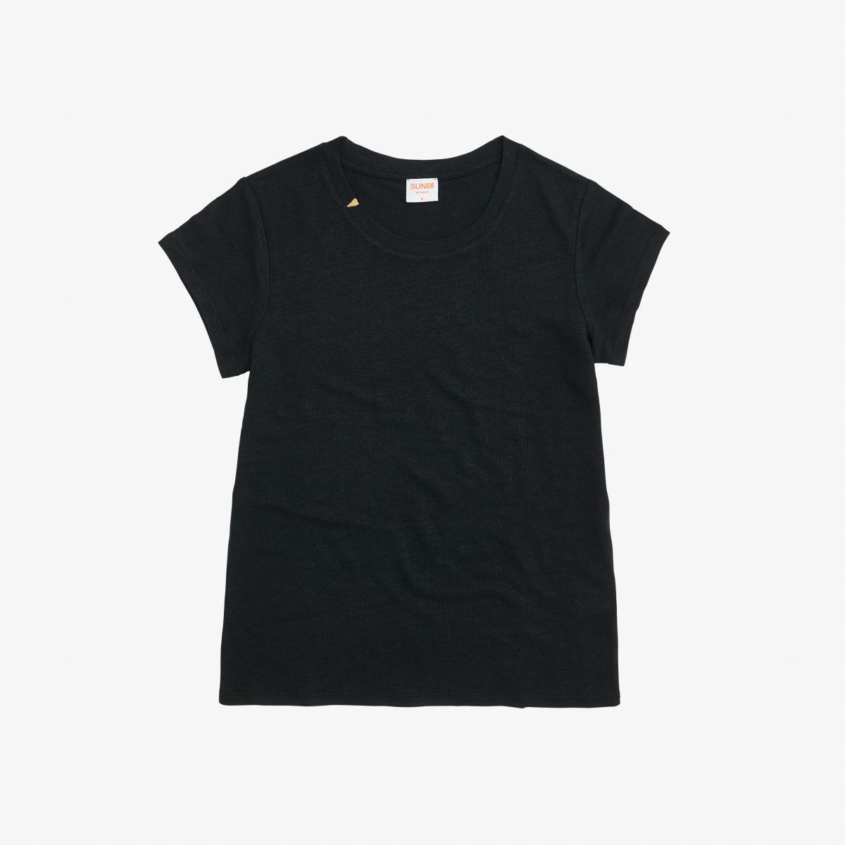 ROUND T-SHIRT LINEN SOLID S/S BLACK