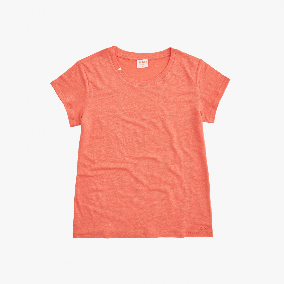 ROUND T-SHIRT LINEN SOLID S/S CORAL