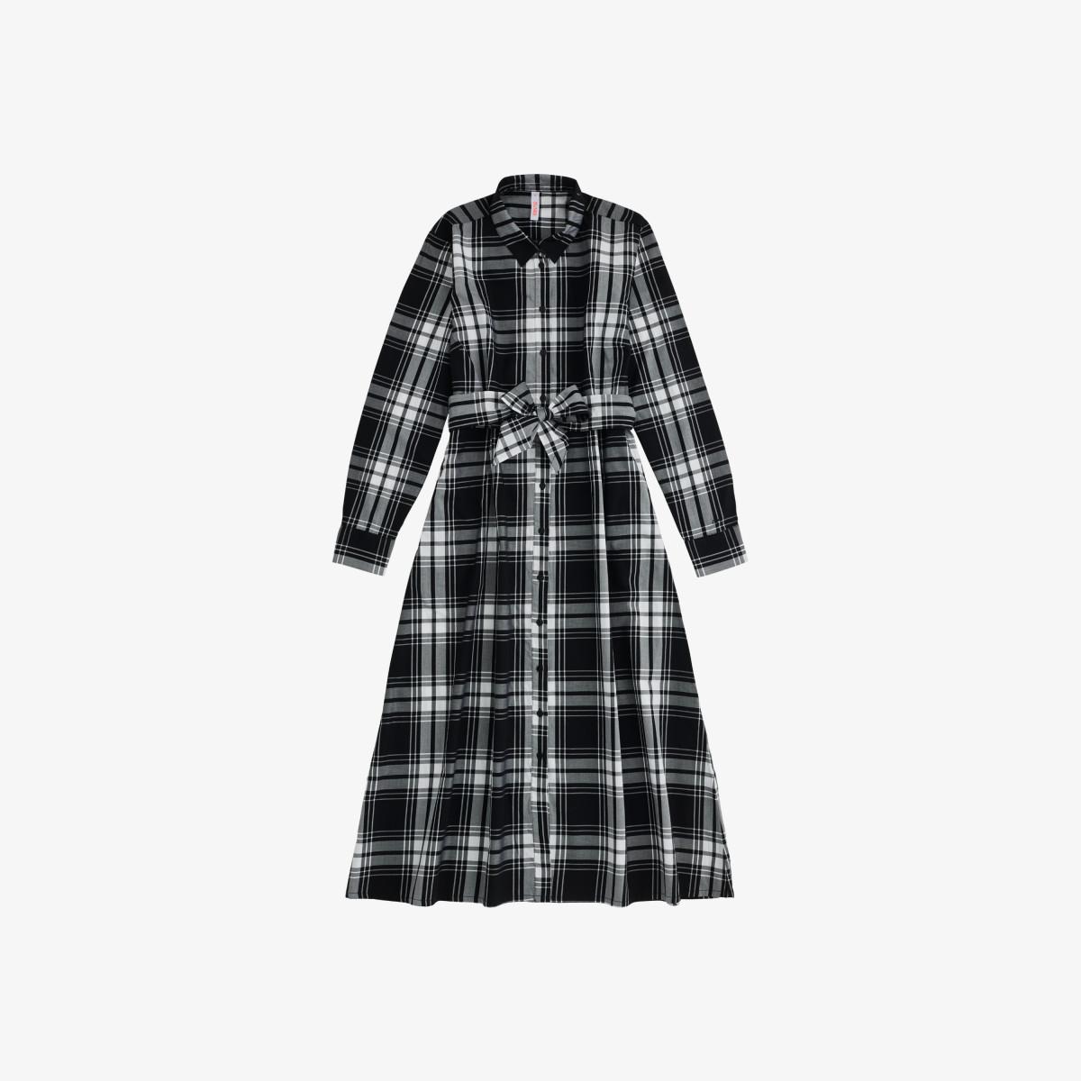 LONG DRESS L/S WHITE / BLACK