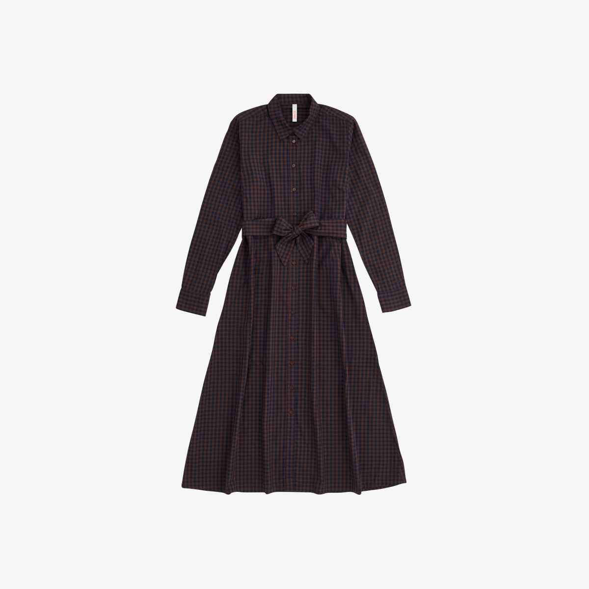LONG DRESS L/S NAVY BLUE/BROWN