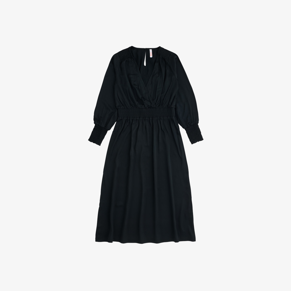 V NECK LONG DRESS L/S BLACK
