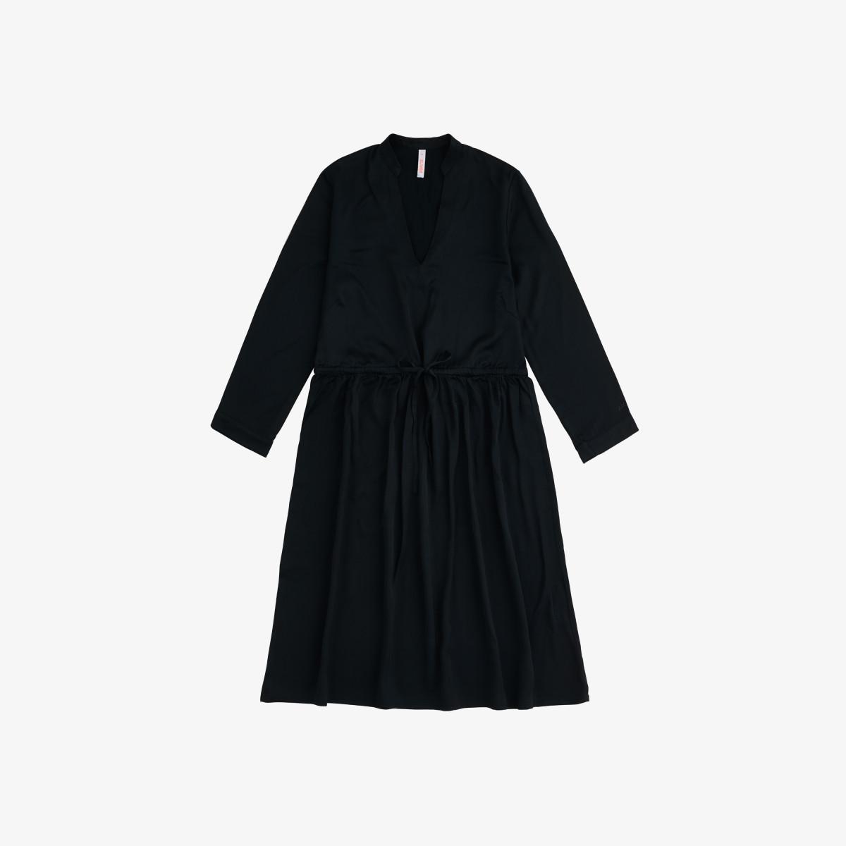 LONG DRESS WRINKLE L/S BLACK