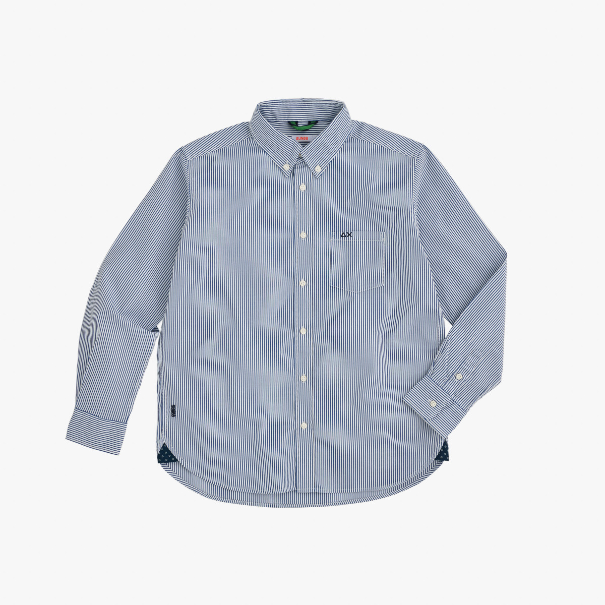 BOY'S SHIRT DETAILS B/D L/S NAVY BLUE/WHITE