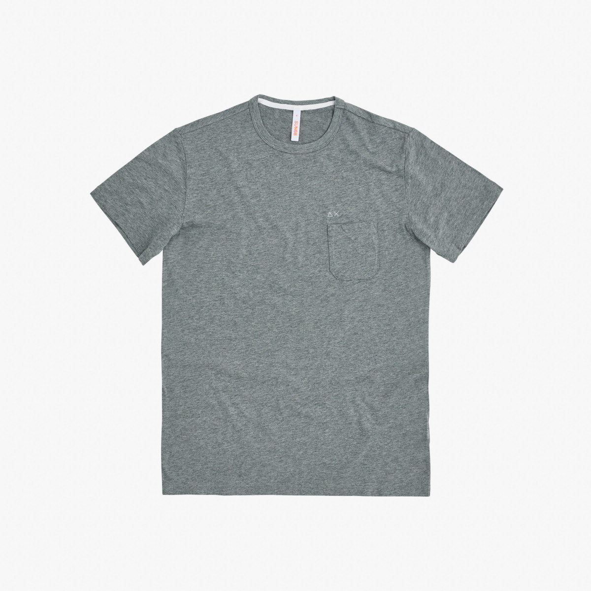 T-SHIRT ROUND SOLID POCKET MEDIUM GREY