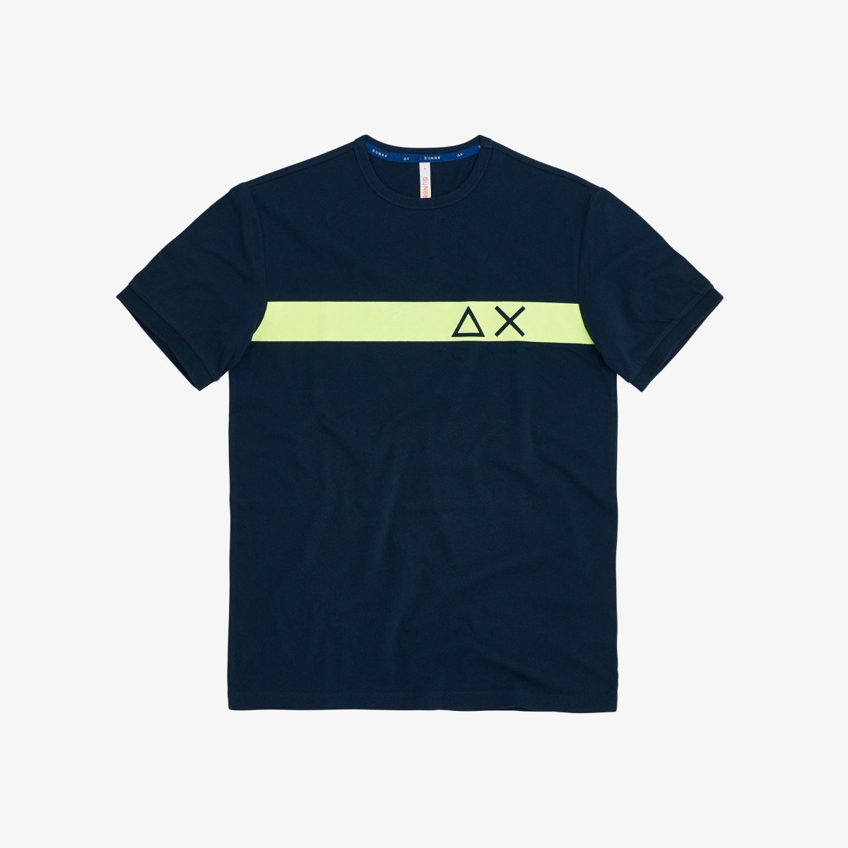T-SHIRT ROUND STRIPE PRINT ON CHEST NAVY BLUE