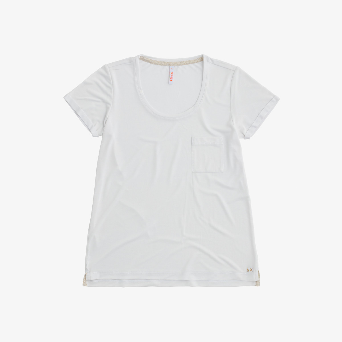ROUND NECK T-SHIRT CHEST POCKET S/S BIANCO