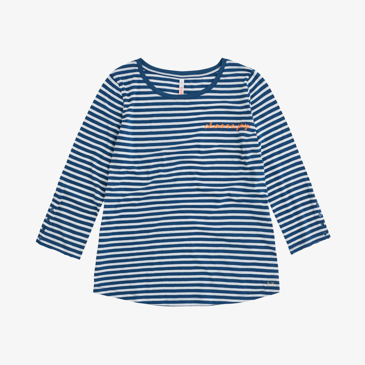 ROUND NECK T-SHIRT STRIPES 3/4 SLV AVIO/BIANCO