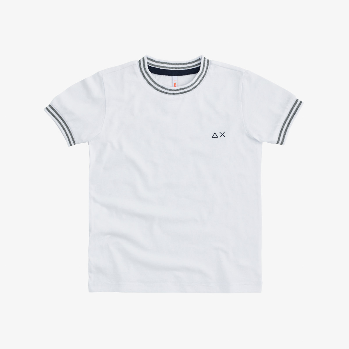 BOY'S T-SHIRT ROUND KNIT RIB CUFFS & COLLAR WHITE