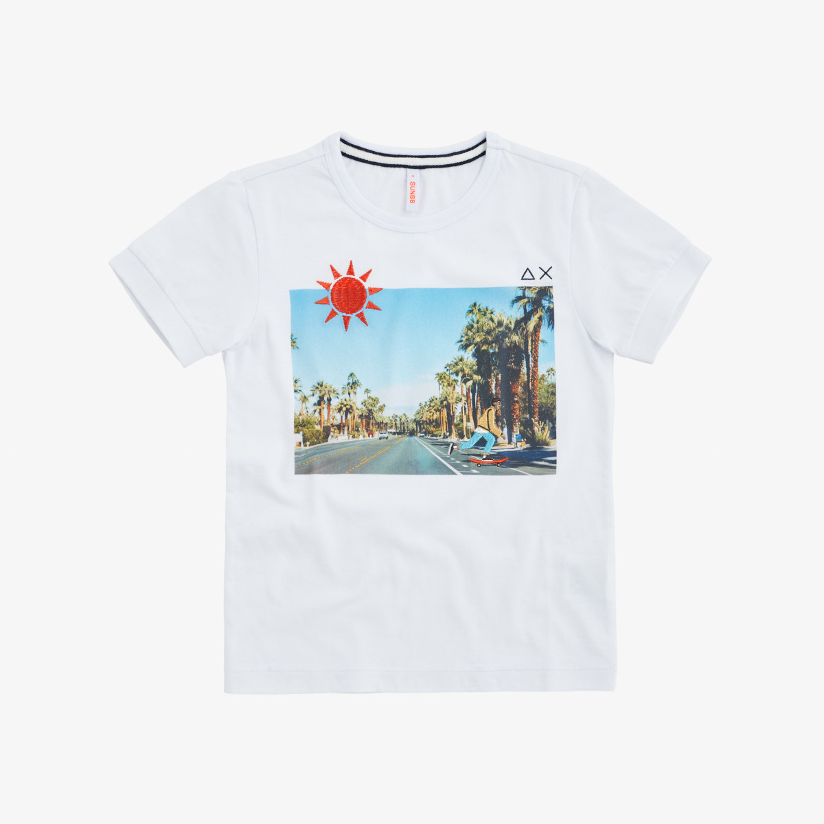 BOY'S T-SHIRT ROUND PRINT PHOTO WHITE/TURQUOISE
