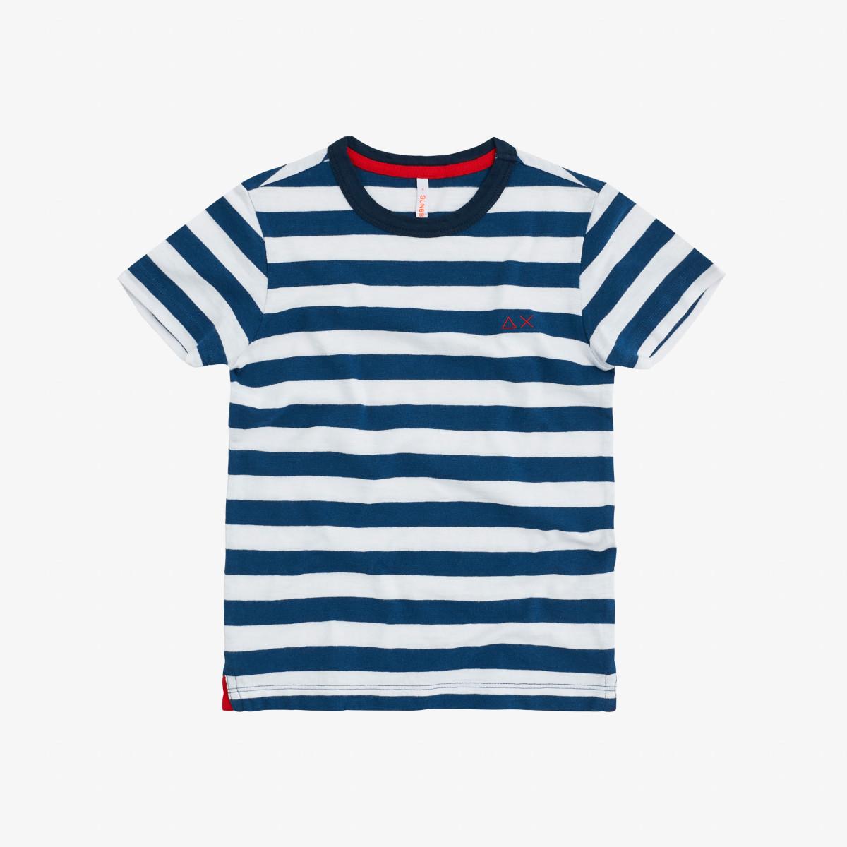 BOY'S T-SHIRT ROUND FULL STRIPES BLUE/WHITE