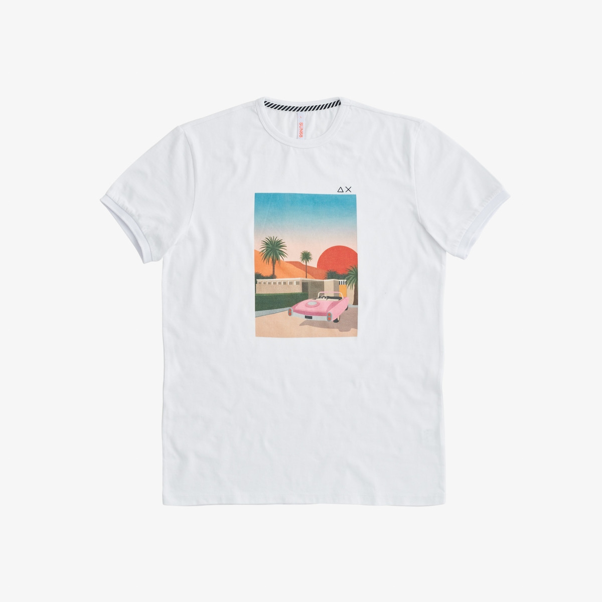 T-SHIRT PRINT ON CHEST WHITE/FIRE