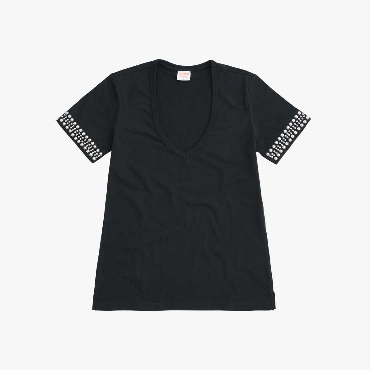 T-SHIRT V NECK STUDS S/S BLACK
