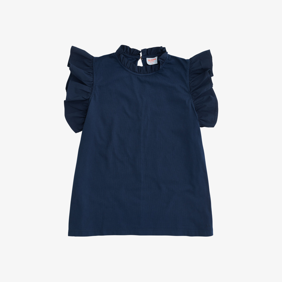 TOP ROUCHES MIX FABRIC NAVY BLUE